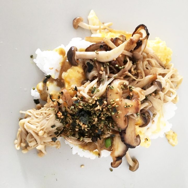 Recipe: Mixed Mushroom Japanese Curry with Egg and Nori Furikake