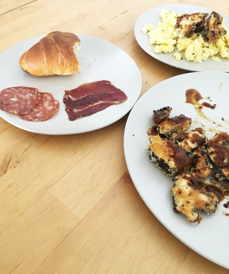 Sunday Brunch at River Valley: Shio Pan with Cold Cuts from Last Night, Creamy Scrambled Eggs, Mushroom Fritters